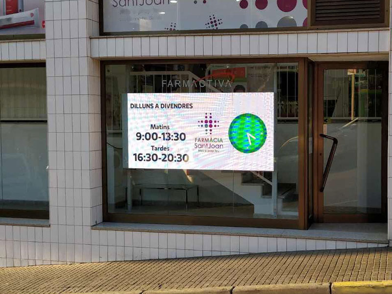LED displays in shop windows